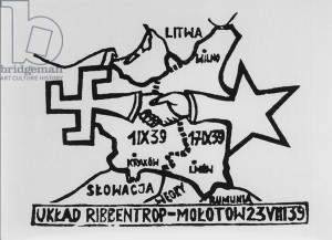 CHT163925 Pamphlet about the Molotov-Ribbentrop Pact, signed 23rd August 1939 which divided Poland (engraving) (b/w photo) by Polish School, (20th century); Private Collection; (add.info.: Tract denoncant le Pacte Germano-Sovietique divisant la Pologne; Joachim von Ribbentrop (1893-1946), foreign minister 1933-45; Vyacheslav Mikhaylovich Molotov (1890-1986) foreign minister;); Archives Charmet; Polish,  it is possible that some works by this artist may be protected by third party rights in some territories